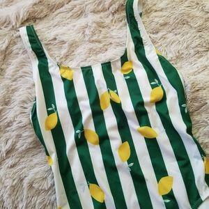 Solid & Striped striped lemon print swimsuit